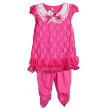 DYF6005-3 Hot Pink Girl Outfit Ruffle Lace Design Kids Dress Shirt Pant Clothing Set