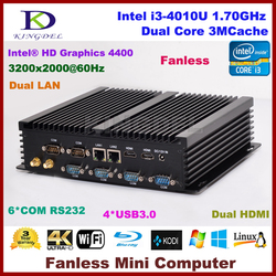 2 Ethernet Mini PC Windows8 New products Core i3 4010U Desktop Computer HTPC With 4GB RAM 128GB SSD 6*COM RS232 Dual HD.MI