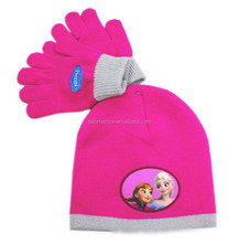 frozen knitted hat cartoon cap wholesale fushcia children cap with glove