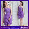 de color púrpura de un hombro cortina de gasa de flores occidentales vestidos vestidos de fiesta