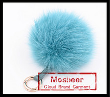 Baby Blue Color Fox Fur Tail Pom Poms Keychain For Bags