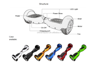 2wheel self balancing scooter, smart scooter self balancing, mini scooter two wheels self balancing with LED Light