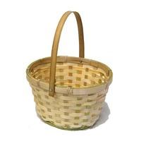Natural Swing Handle Oval Bamboo Basket