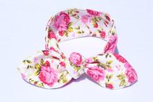 Wholesale headband flower infant toddler girls, kids rabbit head wrap floral cotton headband