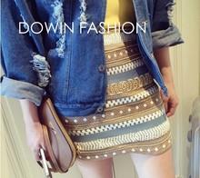 Nueva moda de la imagen vestidos vintage raya étnicos de perlas bordadas figura geométrica armarios mini apretada falda lápiz