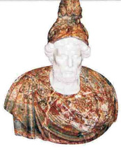 Old Man White & Red Marble Stone Head Sculptures, Stone Head Portrait