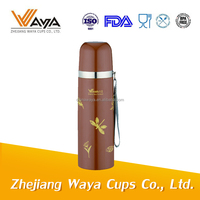 350ml double wall stainless steel vacuum thermal flask with strap