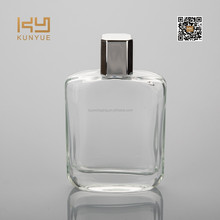 fancy pure glass perfume bottle with silver cap