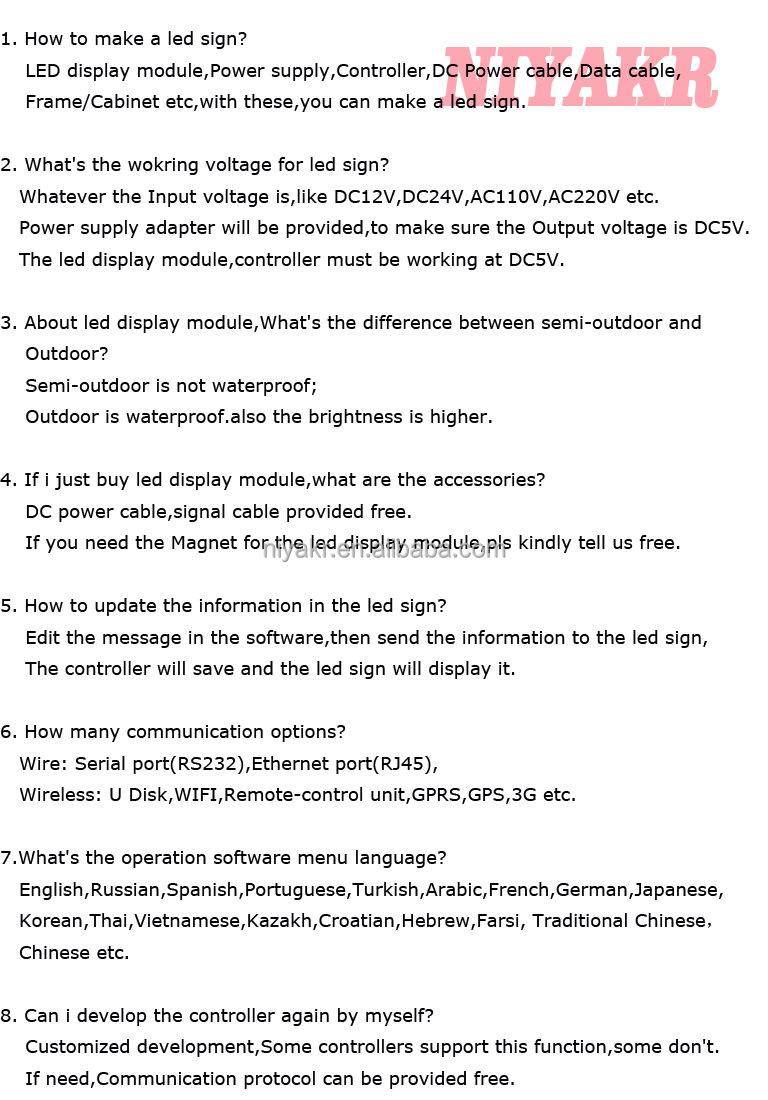 FAQ for single or dual led screen