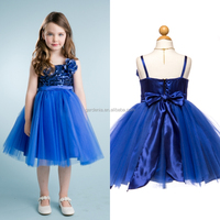 New Arrive Lovely Flower Girls Dress Spaghetti Strap Royal Blue Mid-Calf Tulle Party Wear Dresses For Girls of 2-6 Years (SA71)