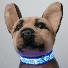 LED Flashing reflective light up flat optic fiber nylon luminous cartoon custom puppy id collar