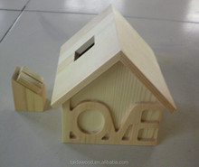 New style House shaped lovely wooden money bank/wooden coin boxes