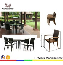 Comfortable cheap rattan glass top tables and chairs