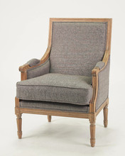 Living room chair use antique wood turedo linen grey chairs/ Hand carved wood armchair (CH-811-OAK)