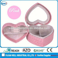 Artificial leather jewelry box for girls