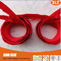 Fashion design!Red tape two way double slider #5 resin zipper for bedding