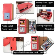 Removable leather wallet case for iPhone 6