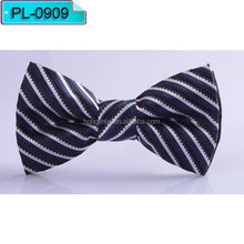 Blue black and white stripe Micro fiber bow tie, polyester Fashion bowtie PL0909