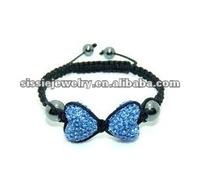 Sparkling Light Blue Heart Shamballa Style Bracelet