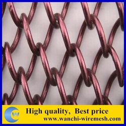2015 hot on sasearch china supplier golden /copper/aluminum Decrotive chain link curtain/woven wire mesh Metal stranding decora