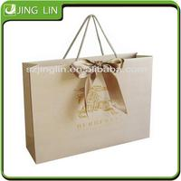 silk decoration hand bag white woman shopping gift bag with handle luxury brown rope paper bag