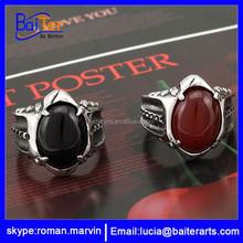 Custom newest stainless steel gemstone ring design men's ring jewellery , 316L Titanium Men's Ring jewelry