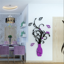 custom made family flower wall decals, large mural acrylic wall sticker
