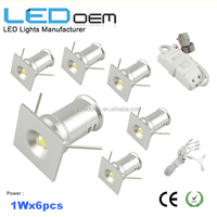 Free shipping 6pcs 1W cabinet led mini spot light pure white 6000K with power driver