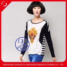 latest deign embroidered yarn dyed women long sleeve t shirt