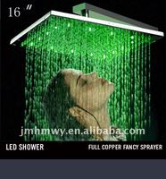 Automatic color change chrome led overhead shower
