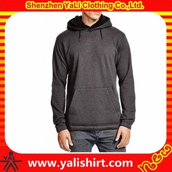 Winter top quality thick plain grey cotton fleece pullover wholesale blank pullover hoodies with fur hood