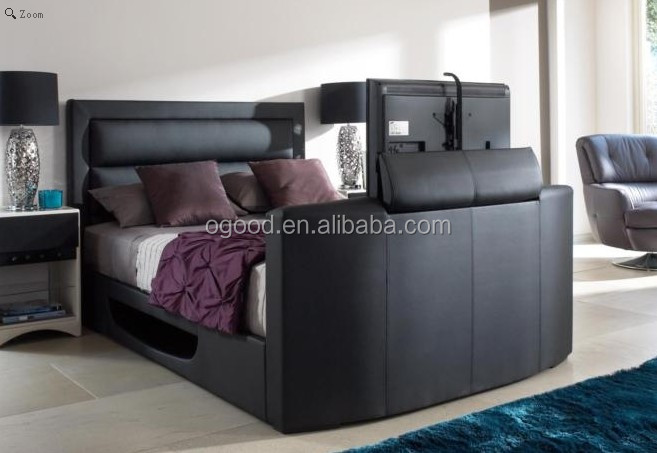 Luxury Modern Leather Tv Bed With Tv In The Footboard Lift Storage Buy Luxury Tv Bed Bed With