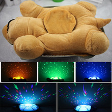 Baby 4 Sleepsongs Colorful Turtle Shape Moon and Stars Ceiling LED projector night light plush toy with music for Sleep