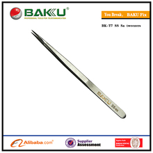 2015 NEW BAKU Long Cell phone repair Curved Tips Stainless Steel Slant Electric Eyebrow Superfine Pointed T7 tweezer