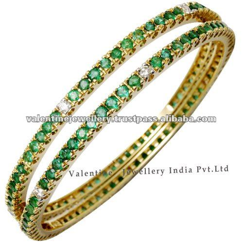 indian style gold bangles designemerald and diamond