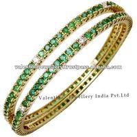 indian style gold bangles design, emerald and diamond bangles design