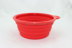 food grade cute popular red round with dog shape handle dog bowl novelty pet silicon folding bowls