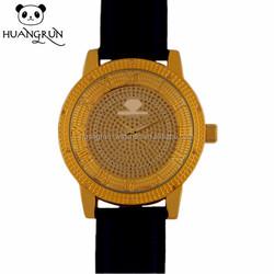 Fashion genuine leather diamond man luxury quartz wrist watch sport