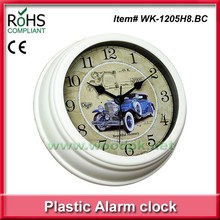 2015 Promotional Gift plastic design alarm clock outdoor clock, put on table or hang on wall is available.