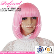 Hot bobo style synthetic hair wig with bang 10'' pink party wigs