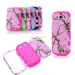 Hybrid assorted bumper colorful branch line Tri Layer PC Silicone Case for Samsung galaxy S3