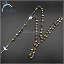 gold mixed steel color mens hip hop stainless steel rosary necklace