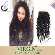 Wholesale 4*4 Top Lace Closure 7A Grade Virgin Brazilian Hair Kinky Curly Human Hair with Closure