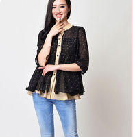 D20367Q 2014 SUMMER NEW FASHION BIG YARDS CONTRACTED LOOSE SWEET CHIFFON BLOUSES FOR WOMEN