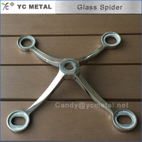 316 Four Arms Satin Stainless Steel Glass Spider Fitting