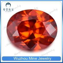 Hot Sell Oval Cut Orange-Red Cubic Zircon Gems