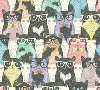 Cat seamless design printed knitted cotton lycra fabric for kids