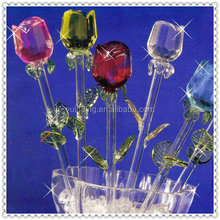 Beautiful Long Stem Glass Rose For Wedding Decoration
