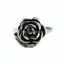 Guangzhou Daimily Hot Sale Women Jewelry Flower Of Life Rose Ring Stainless Steel Rose Flower Finger Ring