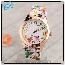 2015 New Design Fashion floral watch geneva flower watch for ladies women